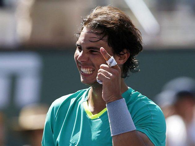 Španělský tenista Rafael Nadal se raduje z výhry nad Tomášem Berdychem v Indian Wells.