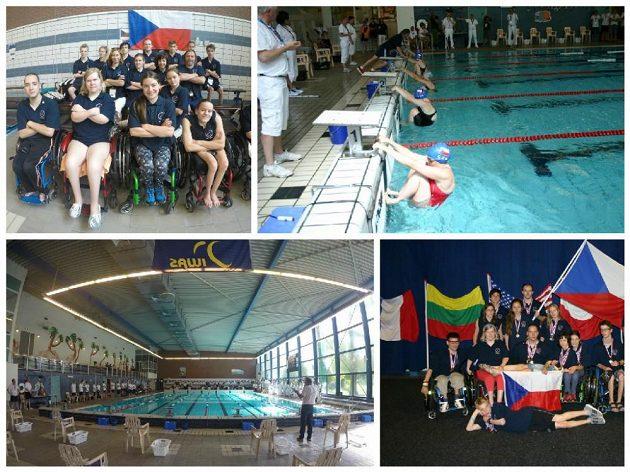 Světové hry juniorů - reprezentační tým, bazén, start děvčata S8, medailový ceremoniál – S8 a plavecký tým s medailemi.