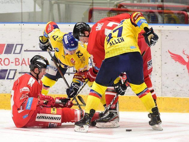 Zleva Tobiáš Handl z Olomouce, Matěj Toman z Českých Budějovic, Tomáš Gřeš z Olomouce a Conor Allen z Českých Budějovic.