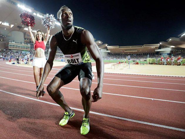 Jamajčan Usain Bolt po triumfu v Monaku.