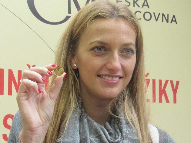 Tenistka Petra Kvitová si v Jablonci nad Nisou vyrazila zlatou minci s vlastní podobiznou.