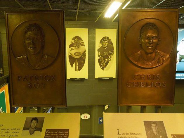 Připomínka slavných postav historie Montrealu Canadiens v hale.
