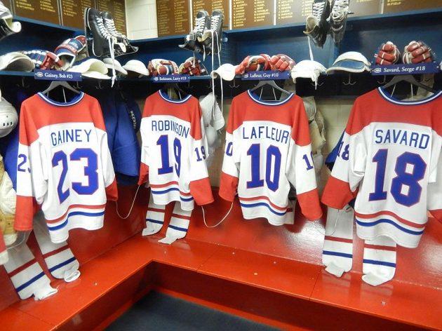 Kabina hokejistů Montrealu ze 70. let.