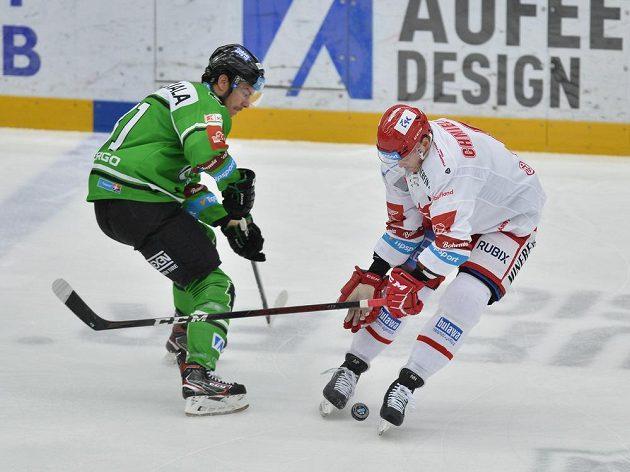 Zleva David Cienciala z Mladé Boleslavi a Aron Chmielewski z Třince.