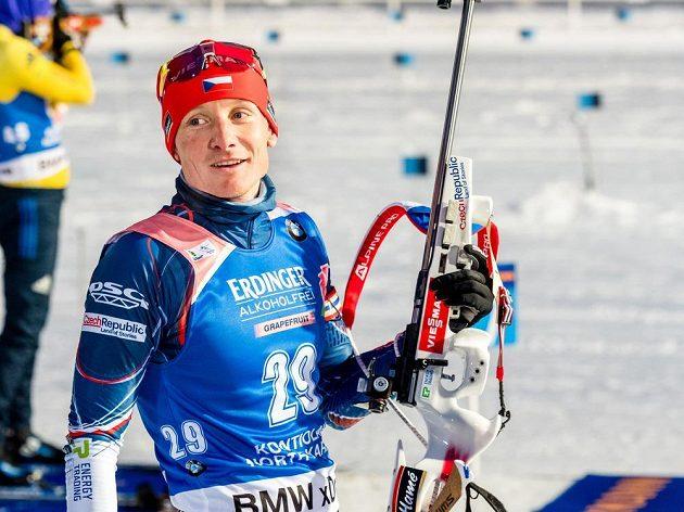 Ondřej Moravec při sprintu v Kontiolahti.