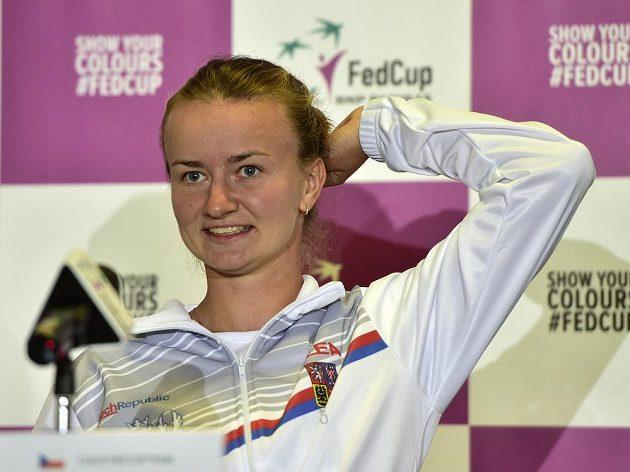 Barbora Krejčíková na tiskové konferenci