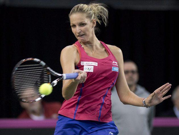 Česká tenistka Karolína Plíšková v úvodní dvouhře fedcupového duelu proti Kanadě.