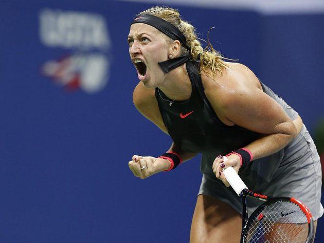 Vítězné gesto Petry Kvitové v osmifinále US Open.