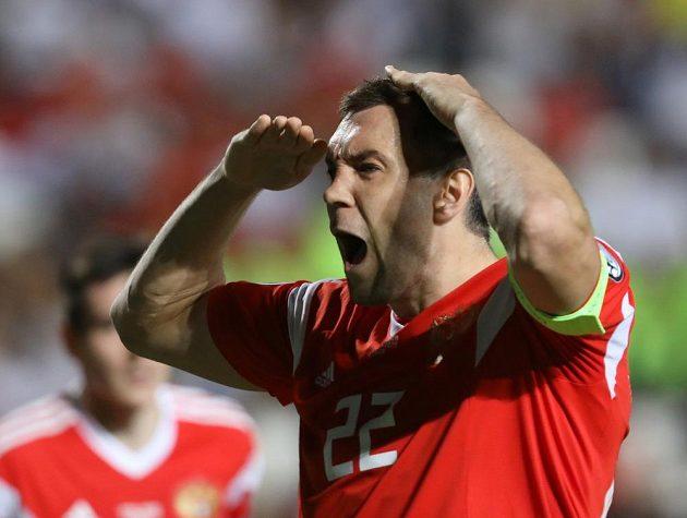 Ruský útočník Arťom Dzjuba se raduje z gólu proti Kypru.