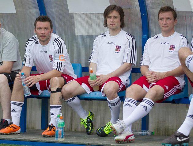 Marek Jankulovski na své benefici, které se zúčastnili i kapitán reprezentace Tomáš Rosický a manažer národního týmu Vladimír Šmicer.