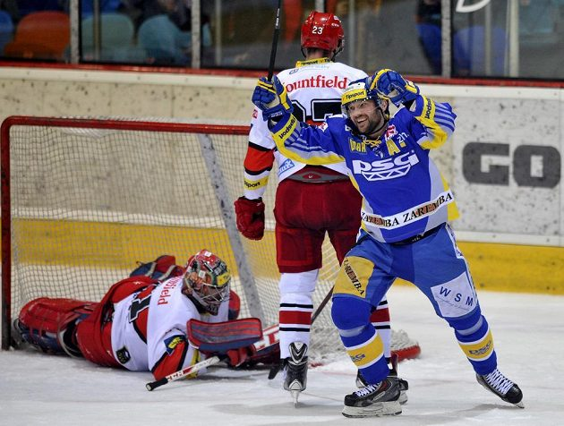 Petr Leška ze Zlína se raduje z prvního gólu.