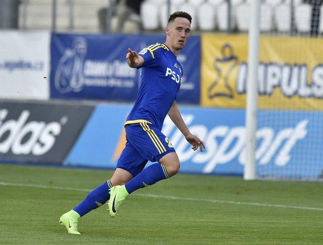 Střelec prvního gólu Jihlavy Davis Ikaunieks z Jihlavy zaskočil Plzeň už v úvodní minutě.