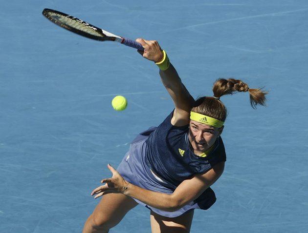 Podání českou tenistku Karolínu Muchovou v první sadě čtrvtfinále Australian Open moc nepodrželo.