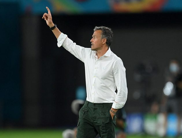 Luis Enrique conducts his team in a match against Sweden