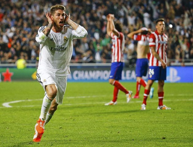 Sergio Ramos z Realu jásá po gólu, kterým zařídil vyrovnání ve finále LM s Atlétikem.