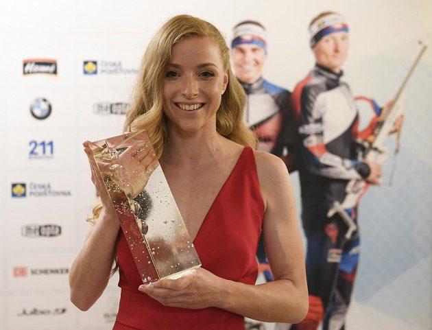 Markéta Davidová převzala ocenění za vítězství v anketě o nejlepšího českého biatlonistu sezony 2018/19.