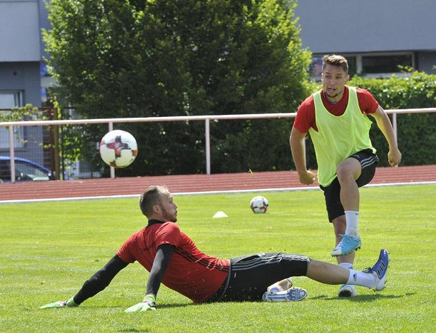 Fotbalisté Mladé Boleslavi zahájili přípravu. Na snímku je brankář Jakub Diviš (vlevo) a záložník Adam Jánoš.