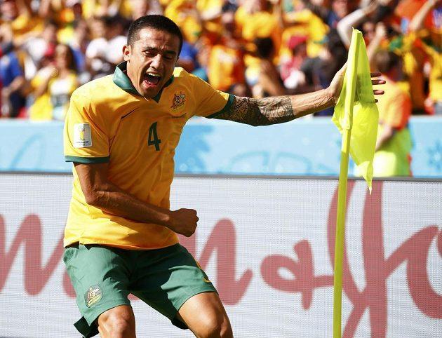 Radost střelce australského vyrovnávajícího gólu Tima Cahilla.
