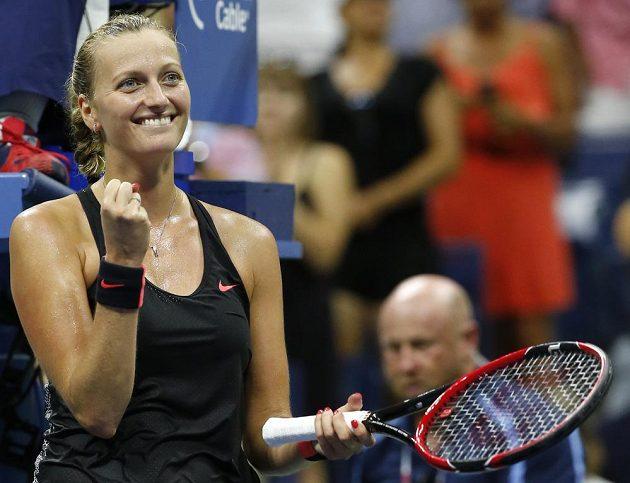 Petra Kvitová se raduje z postupu do čtvrtfinále US Open.