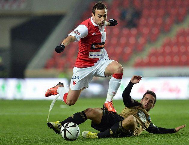 Damien Boudjemaa ze Slavie v utkání se Znojmem.