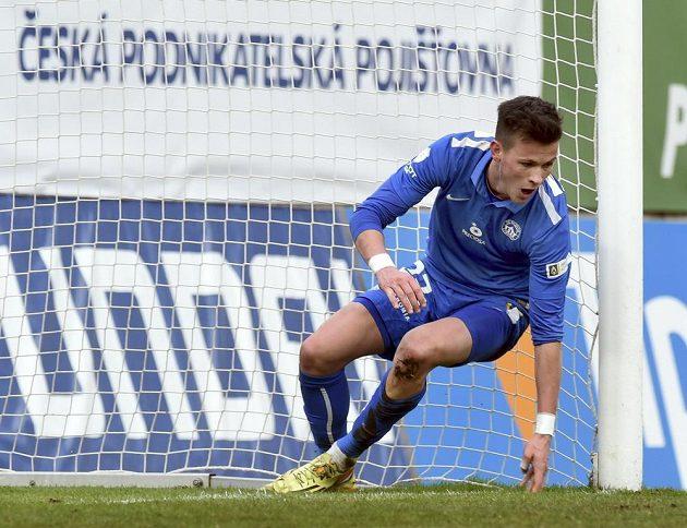 Liberecký záložník Egon Vůch se raduje ze vstřelení druhého gólu na hřišti Teplic.