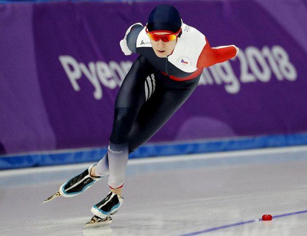 Martina Sáblíková na trati o délce 3000 metrů v jihokorejském Pchjongčchangu.