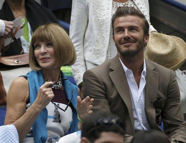Na závěr US Open byl zvědavý i David Beckham, vedle něj Anna Wintourová, šéfredaktorka magazínu American Vogue.