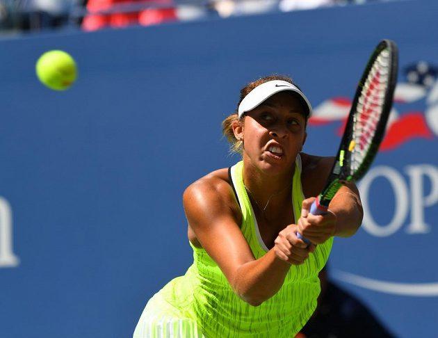 Madison Keysová během utkání na US Open s Caroline Wozniackou.