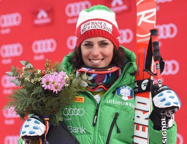 Italka Federica Brignoneová po triumfu v super-G SP v Soldeu.