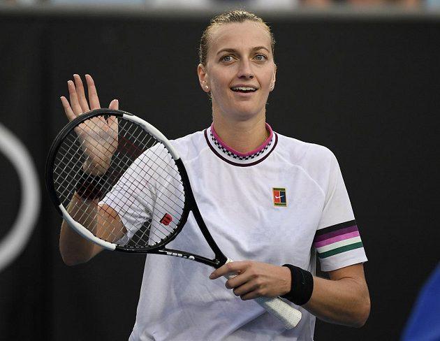 Radost z vítězství v podání české tenistky Petry Kvitové na Australian Open.