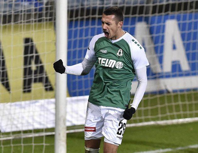 Ivan Schranz z Jablonce se raduje z gólu proti Zlínu.