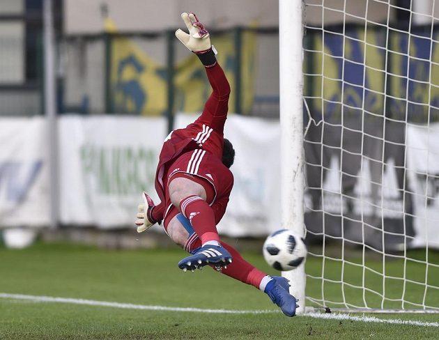 Brankář Mladé Boleslavi Jan Šeda inkasuje gól z pokutového kopu.