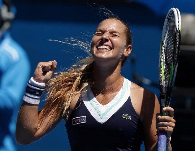 Nadšení ve tváři Dominiky Cibulkové, která si poprvé v kariéře zahraje semifinále grandslamového Australian Open.