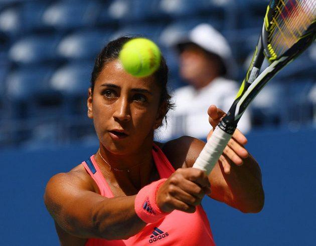 Turecká tenistka Cagla Büyükakcayová v zápase s Petrou Kvitovou v druhém kole US Open.