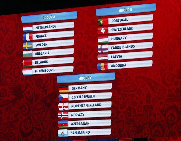 Kvalifikace fotbalového MS 2018 je rozlosovaná.