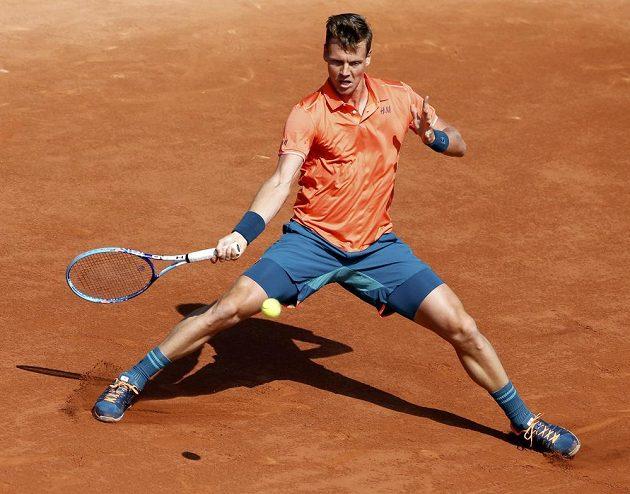 Tomáš Berdych v zápase s Radkem Štěpánkem ve 2. kole French Open.