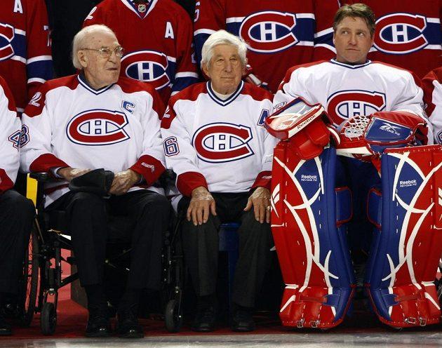 Klubové legendy Montrealu během oslav 100. výročí založení klubu, které proběhlo roku 2009. Zleva Emile Bouchard, Elmer Lach a Patrick Roy.
