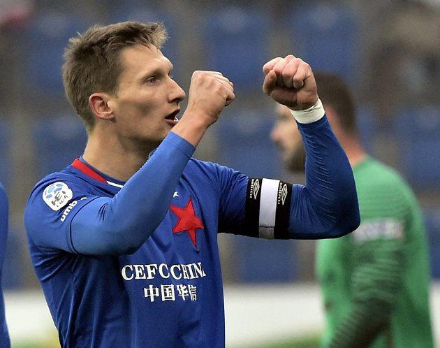 Milan Škoda ze Slavie se raduje z gólu v Uherském Hradišti.