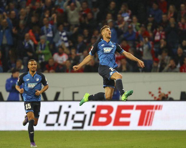 Střelec gólu TSG Hoffenheim Andrej Kramarič a jeho radost v duelu proti Bayernu v německé nejvyšší soutěži.