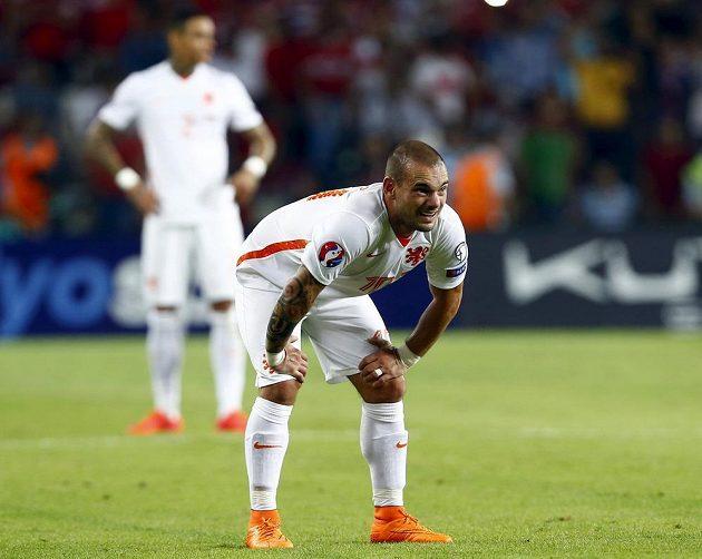 Reakce nizozemského záložníka Wesleyho Sneijdera po inkasovaném gólu v Turecku.