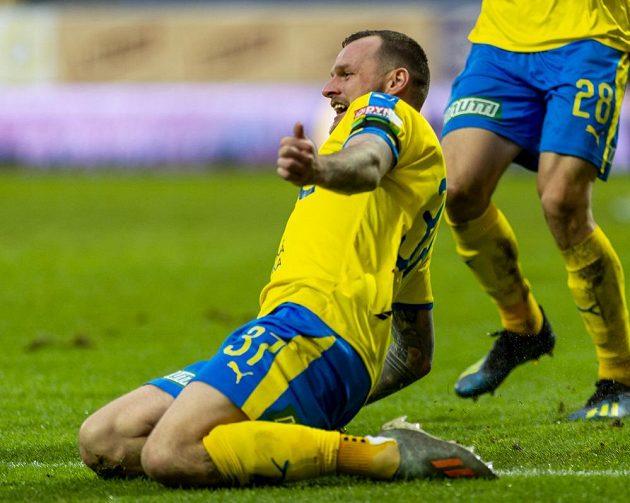Jakub Řezníček z Teplic se raduje z gólu proti Zlínu.