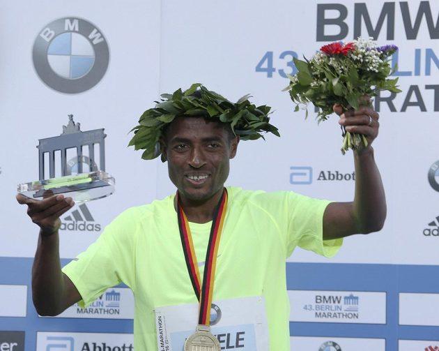 Vítěz Berlínského maratónů Etiopan Kenenisa Bekele.