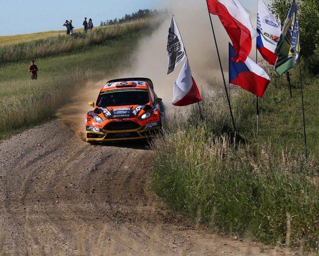 Martin Prokop s Fordem Fiesta WRC na trati Polské rallye.