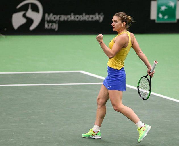 Utkání 1. kola Světové skupiny tenisového Fed Cupu: ČR - Rumunsko. Simona Halepová z Rumunska v utkání dvouhry proti Kateřině Siniakové.