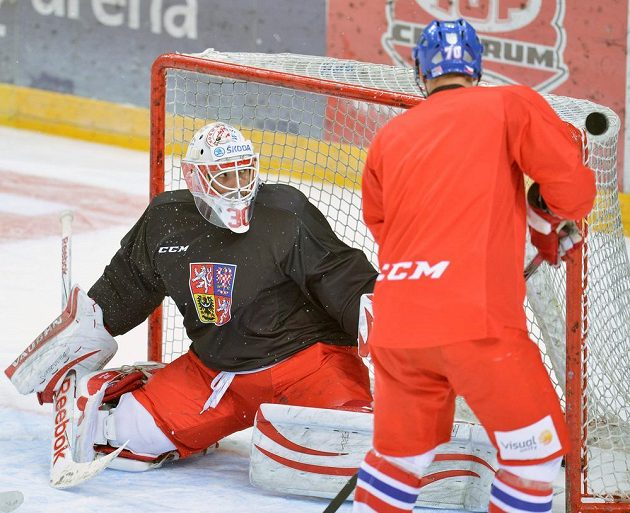 Brankář Šimon Hrubec (vlevo) při tréninku české hokejové reprezentace v Praze před druhým zápasem s Ruskem, který je součástí seriálu Euro Hockey Tour.