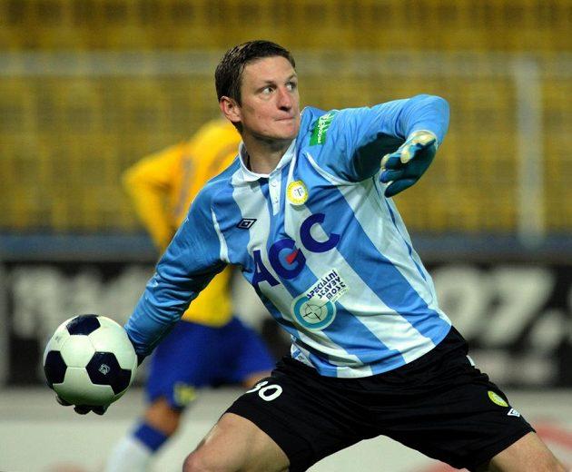 Teplický brankář Tomáš Grigar během utkání se Slováckem.
