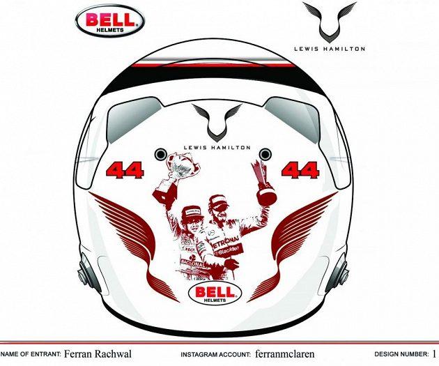 Lewis Hamilton a Ayrton Senna na novém designu helmy od fanouška.