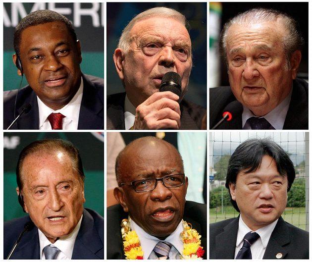 Šestice hlavních podezřelých v kauze FIFA - vlevo nahoře viceprezident organizace Jeffrey Webb, šéf Brazilského a Jihoamerického svazu CONCACAF Jose Maria Marin, prezident CONMEBOL Nicolas Leoz a vlevo dole zleva Eugenio Figueredo, Jack Warner a Eduardo Li.