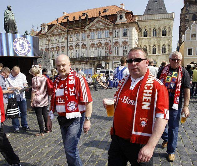 Fanoušci Bayernu Mnichov v Praze.