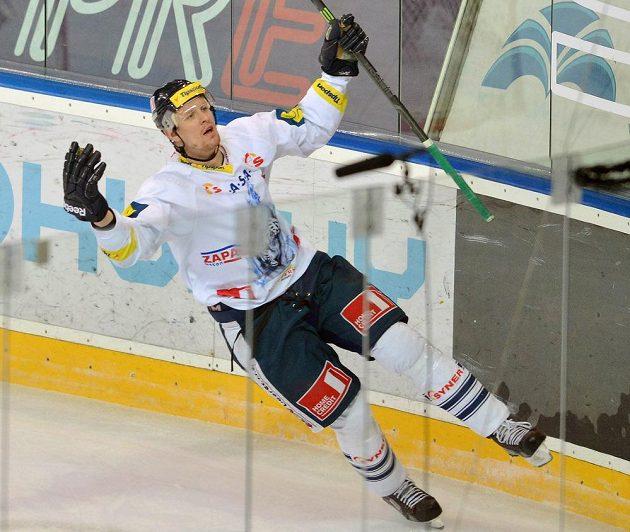 Liberecký útočník Tomáš Urban se raduje z gólu, který dal Spartě z trestného střílení.